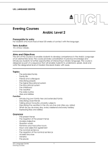 Evening Courses Arabic Level 2  Prerequisite for entry