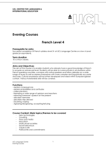 Evening Courses  French Level 4 Prerequisite for entry
