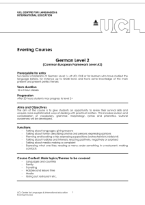 Evening Courses  German Level 2 (Common European Framework Level A2)