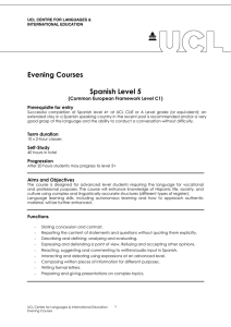 Evening Courses  Spanish Level 5 (Common European Framework Level C1)