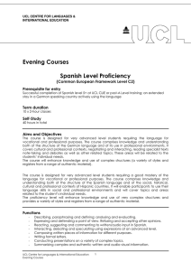 Evening Courses  Spanish Level Proficiency (Common European Framework Level C2)