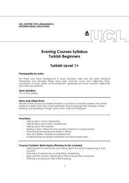 Evening Courses Syllabus Turkish Beginners Turkish Level 1+