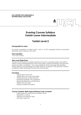 Evening Courses Syllabus Turkish Lower Intermediate Turkish Level 2