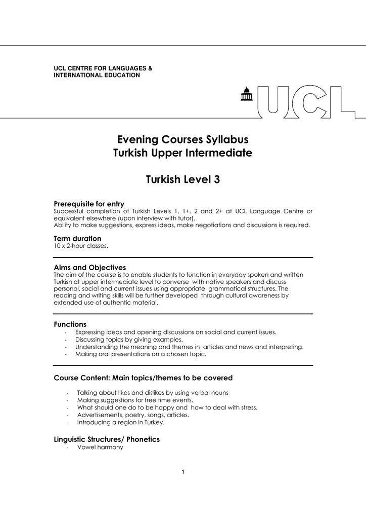 Evening Courses Syllabus Turkish Upper Intermediate Turkish Level 3