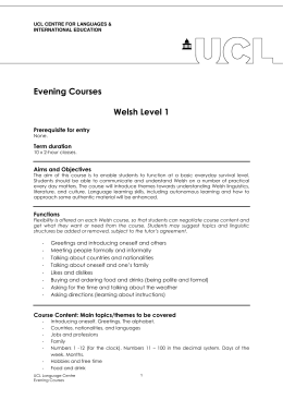 Evening Courses  Welsh Level 1 Prerequisite for entry