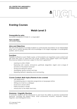 Evening Courses  Welsh Level 3 Prerequisite for entry