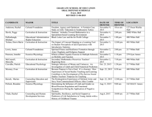 GRADUATE SCHOOL OF EDUCATION ORAL DEFENSE SCHEDULE FALL 2015 REVISED 11-06-2015