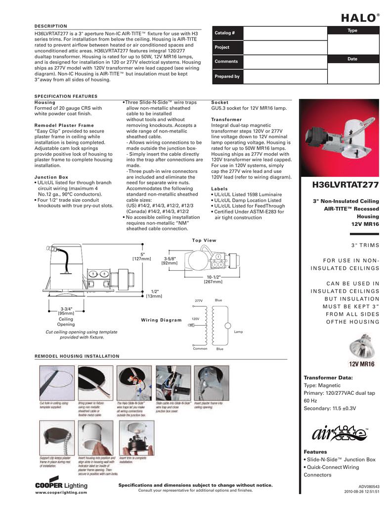 HALO Halo Wiring Diagram V Transformer on