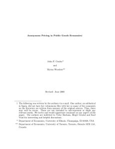 y Anonymous Pricing in Public Goods Economies John P. Conley* and