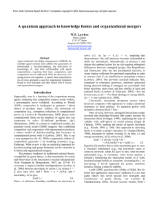 A quantum approach to knowledge fusion and organizational mergers W.F. Lawless Abstract