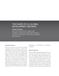 THE SHAPE OF U.S. GLOBAL DEVELOPMENT REFORMS