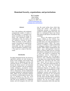 Homeland Security, organizations, and perturbations W.F. Lawless