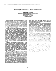 Teaching  Students with  Practical Concerns