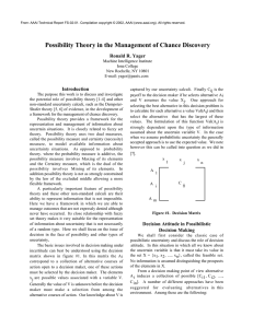 Possibility Theory in the Management of Chance Discovery Ronald R. Yager Introduction