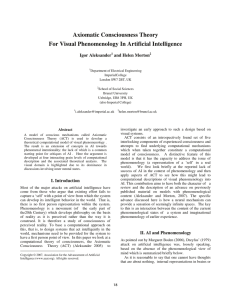 Axiomatic Consciousness Theory For Visual Phenomenology In Artificial Intelligence Igor Aleksander