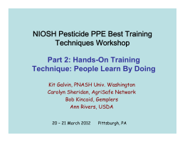 NIOSH Pesticide PPE Best Training Techniques Workshop Part 2: Hands-On Training