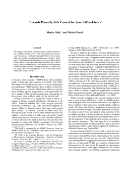 Towards Provably Safe Control for Smart Wheelchairs Meeko Oishi and Nikolai Matni