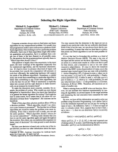 Selecting  the  Right Algorithm Michael L.  Littman