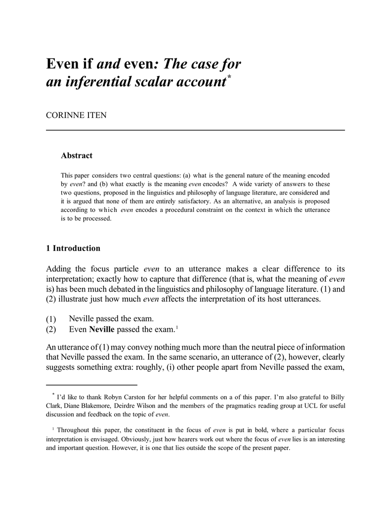 and an inferential scalar account * CORINNE ITEN