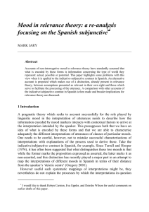 Mood in relevance theory: a re-analysis focusing on the Spanish subjunctive  ∗∗∗∗