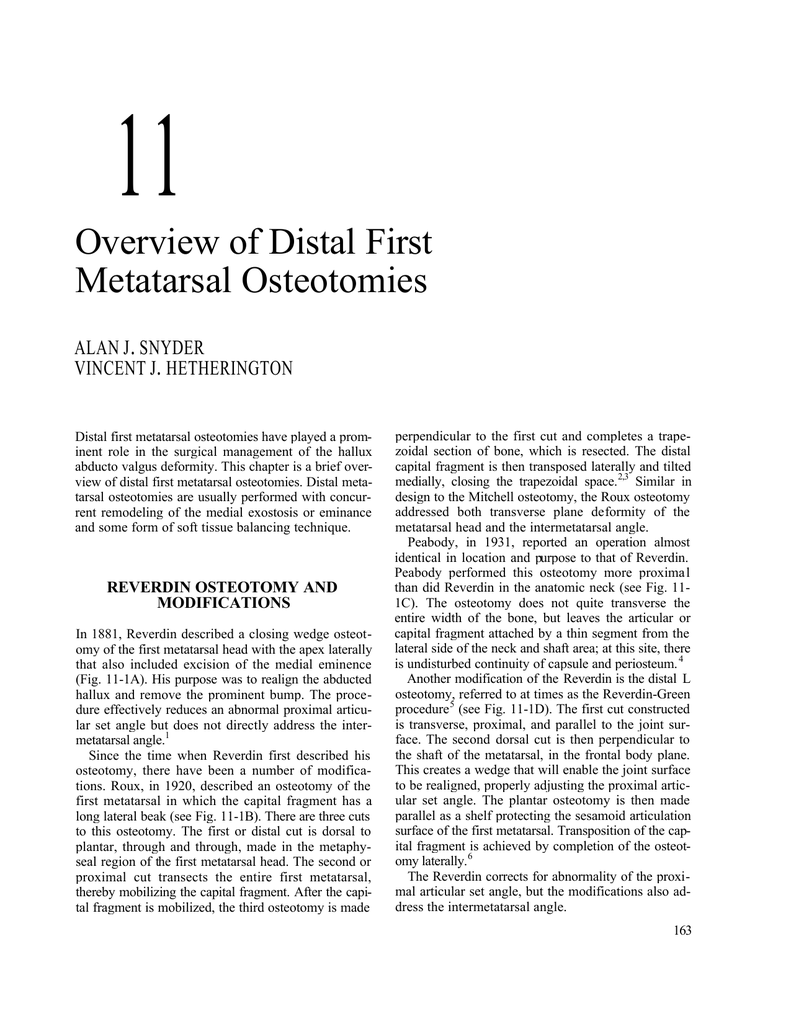 11 Overview of Distal First Metatarsal Osteotomies