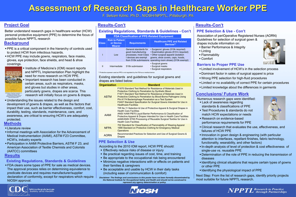 Assessment of Research Gaps in Healthcare Worker PPE Project Goal