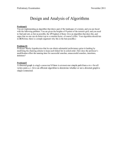 Design and Analysis of Algorithms Preliminary Examination  November 2011