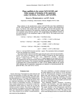 Phase equilibria in the system CaO-CoO-Si02 and oxides CaCoSi206, Ca2CoSi207, and CaCoSi04