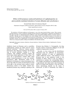 β-lactamase-catalyzed hydrolysis of cephalosporins on Effect of