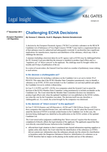 Challenging ECHA Decisions