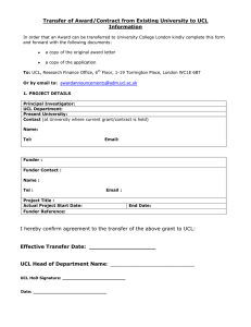 Transfer of Award/Contract from Existing University to UCL Information