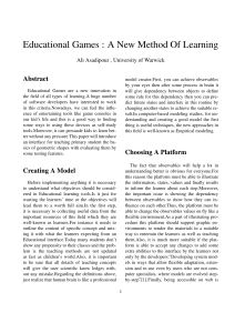 Educational Games : A New Method Of Learning Abstract