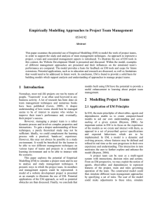 Empirically Modelling Approaches to Project Team Management 0534192