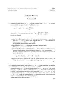 Stochastic Processes Problem sheet 3