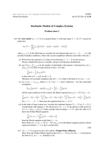Stochastic Models of Complex Systems Problem sheet 3