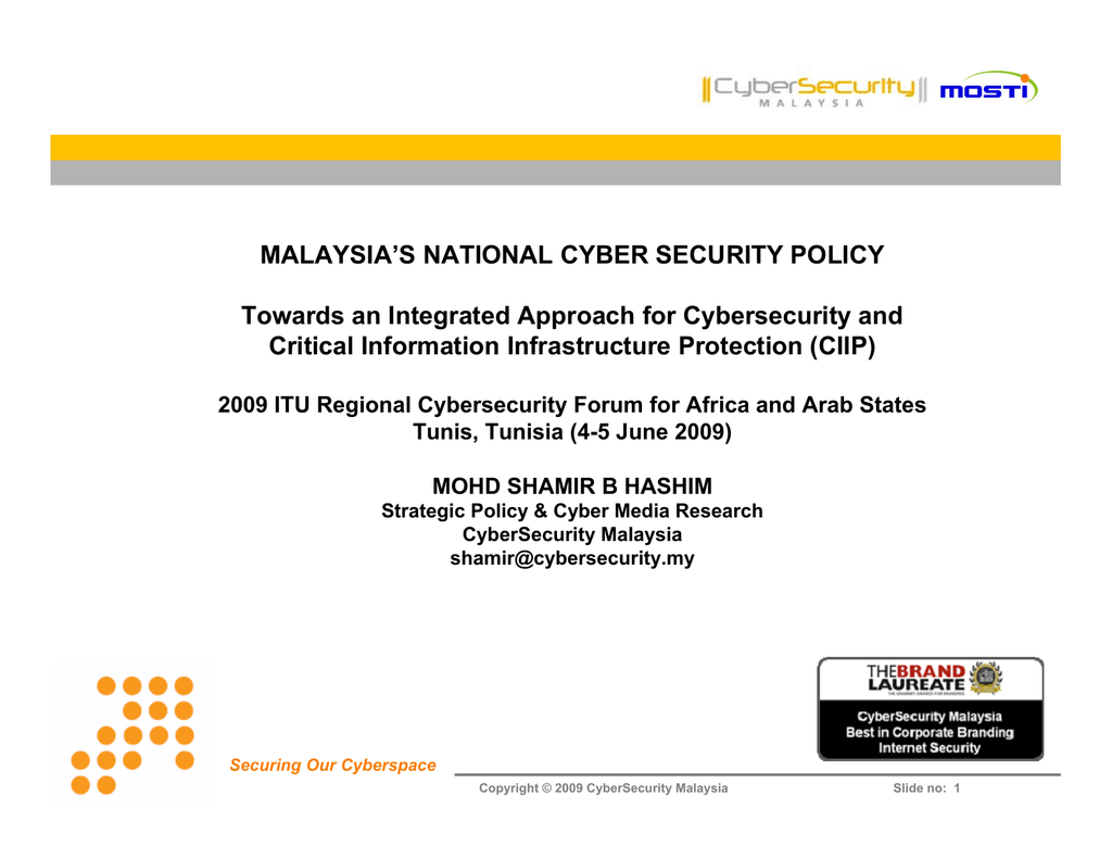 Malaysias National Cyber Security Policy Critical Information