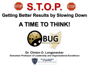S.T.O.P. A TIME TO THINK! Getting Better Results by Slowing Down