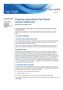 Property Implications Fact Sheet: Autumn Statement