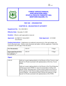 FOREST SERVICE MANUAL NORTHEASTERN AREA STATE & PRIVATE FORESTRY (NA) NEWTOWN SQUARE, PA