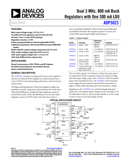 Dual 3 MHz, 800 mA Buck ADP5023 Data Sheet