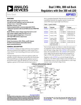 Dual 3 MHz, 800 mA Buck ADP5023 Data Sheet