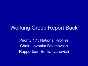 Working Group Report Back Priority 1.1: National Profiles Chair: Jovanka Bislimovska