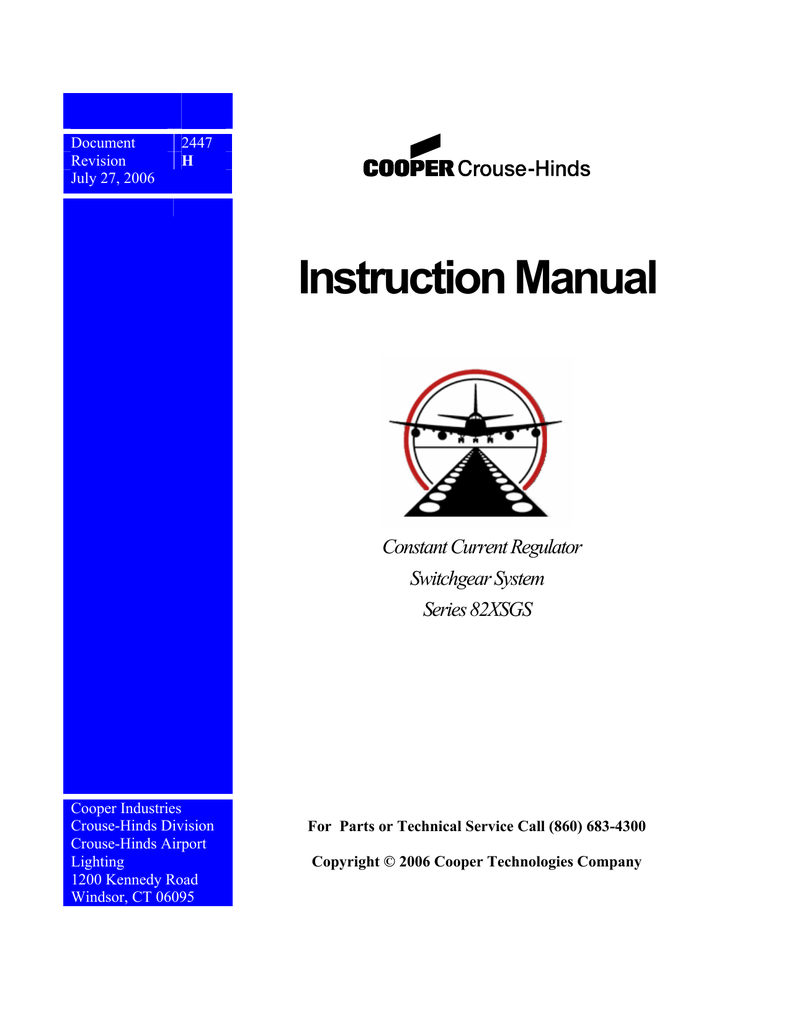 Instruction Manual Constant Current Regulator Switchgear System Typical Forklift Wiring Diagram