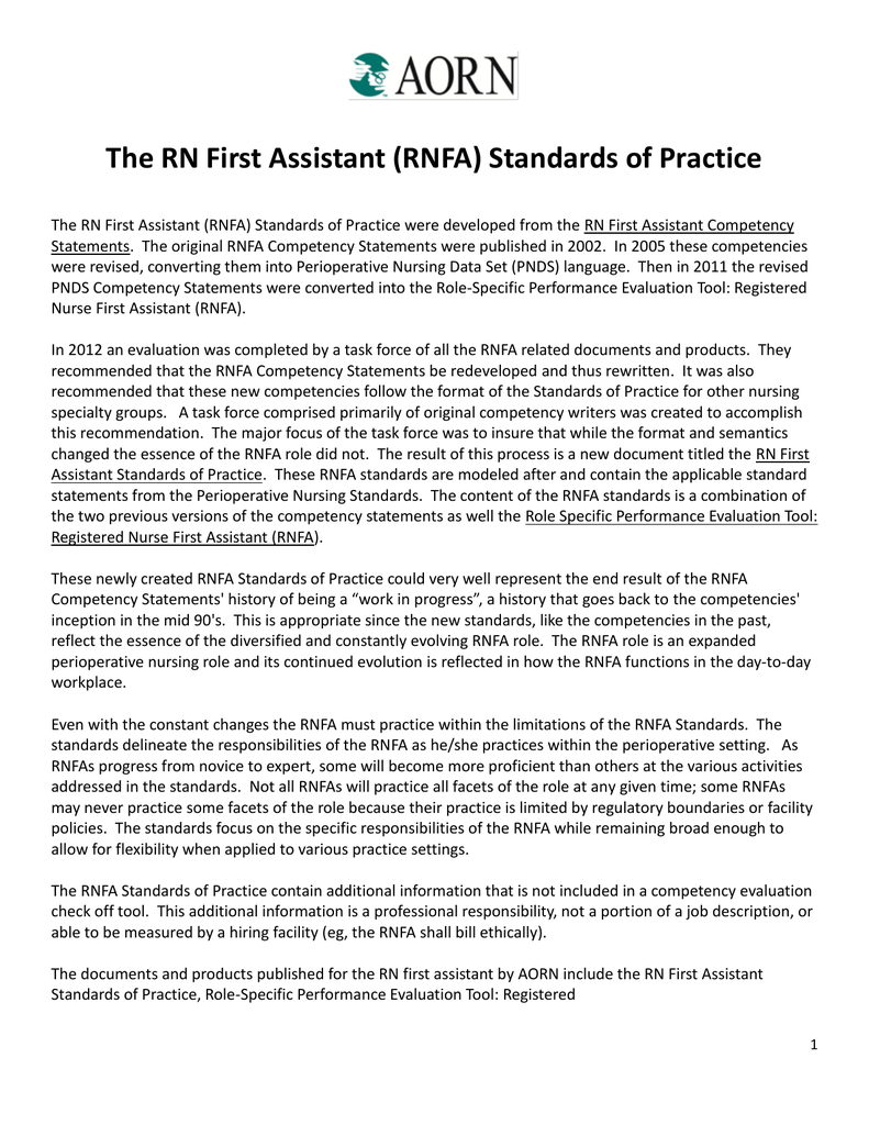 The Rn First Assistant Rnfa Standards Of Practice
