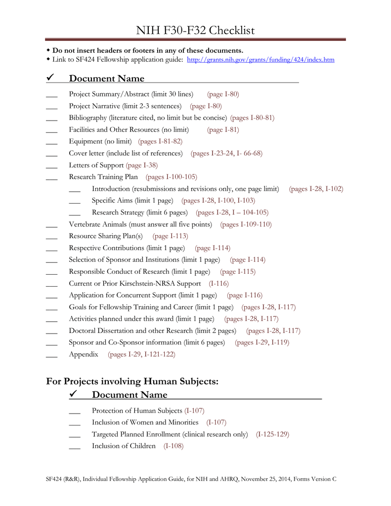 NIH F30 F32 Checklist
