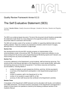 The Self Evaluative Statement (SES) Quality Review Framework Annex 6.2.2: