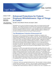 Enhanced Protections for Federal- Employee Whistleblowers: Sign of Things to Come?