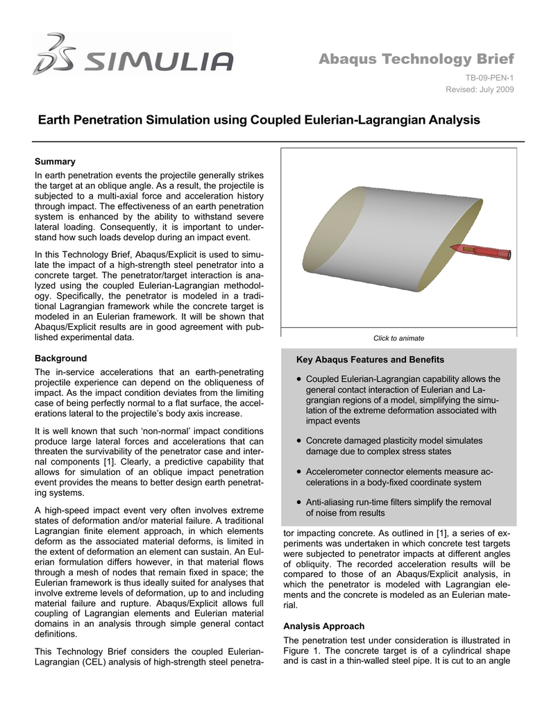 Abaqus Technology Brief Earth Penetration Simulation using
