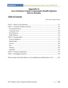 Appendix G: 2010 Durham County Community Health Opinion Survey Results