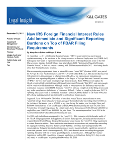 New IRS Foreign Financial Interest Rules Add Immediate and Significant Reporting